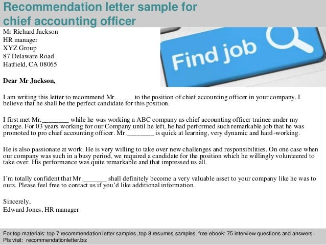 Chief accounting officer recommendation letter expocarfo Images