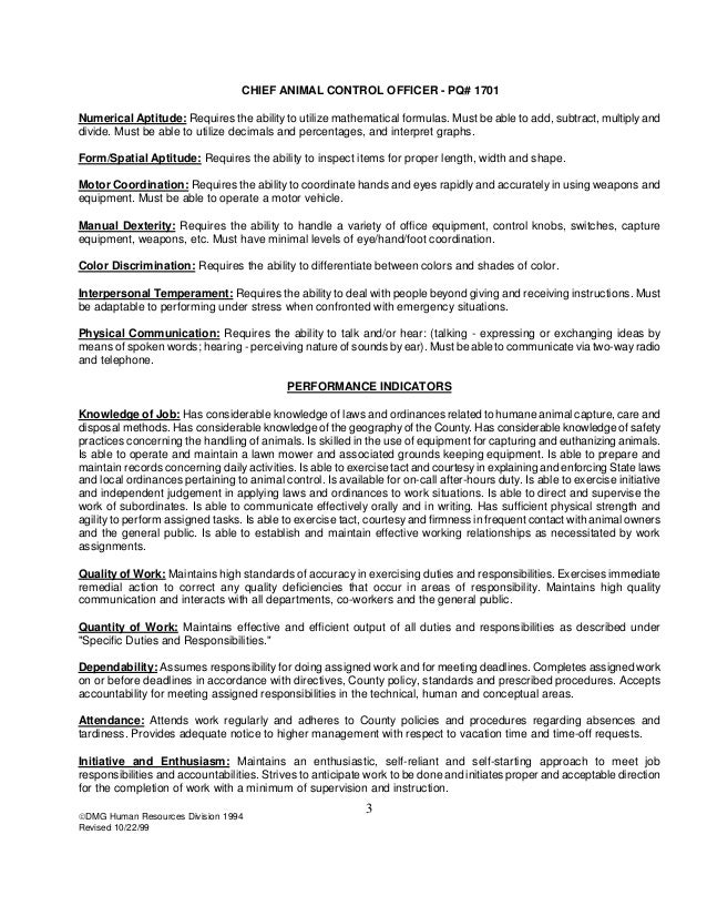 chief animal control officer job description