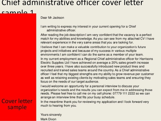 Chief administrative officer cover letter
