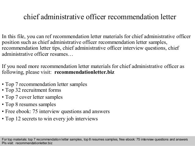 Chief administrative officer recommendation letter
