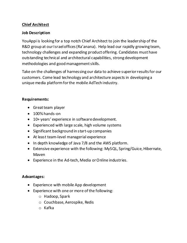 Chief Architect Job Description Youappi Is Looking For A Top Notch Chief  Architect To Join The