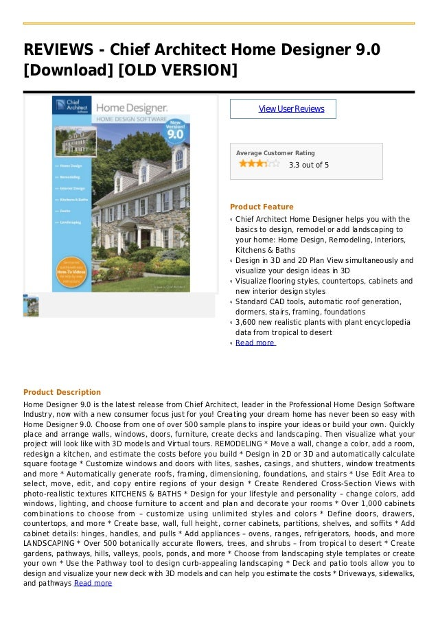 REVIEWS - Chief Architect Home Designer 9.0[Download] [OLD VERSION]ViewUserReviewsAverage Customer Rating3.3 out of 5Produ...