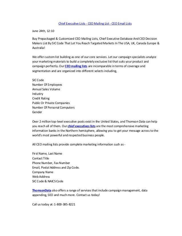 Chief Executive Lists - CEO Mailing List - CEO Email Lists