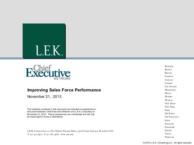 Bangkok Beijing Boston Chennai Chicago London Los Angeles  Improving Sales Force Performance  Melbourne  November 21, 2013...