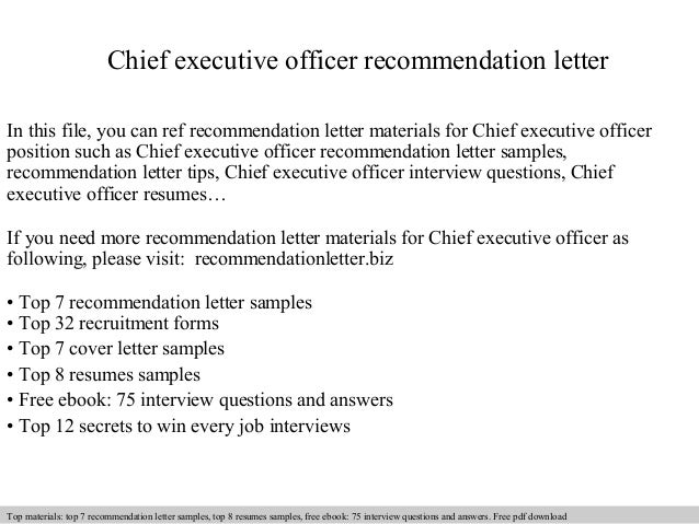 Chief Executive Officer Recommendation Letter