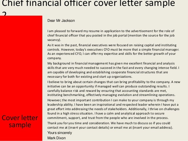 Awesome Chief Financial Officer Cover Letter ... Intended Cfo Cover Letter