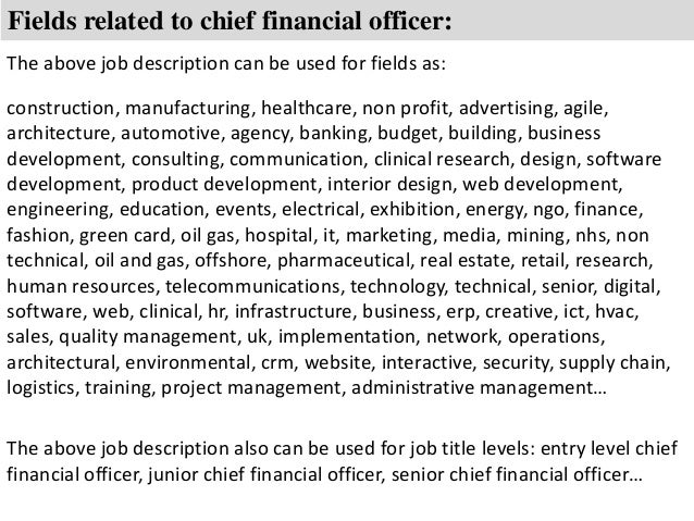 Chief Financial Officer Job Description