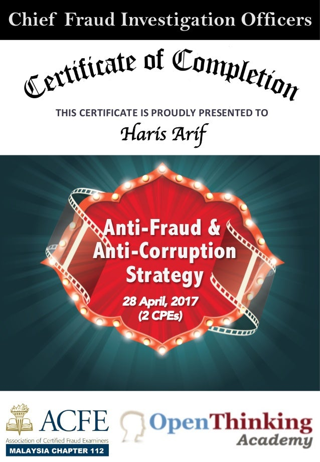 Chief Fraud Fraud Investigation Officers Anti Fraud And Anti Corrupti