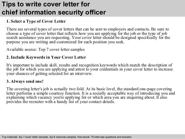 Information Security Cover Letter. Chief Information ...
