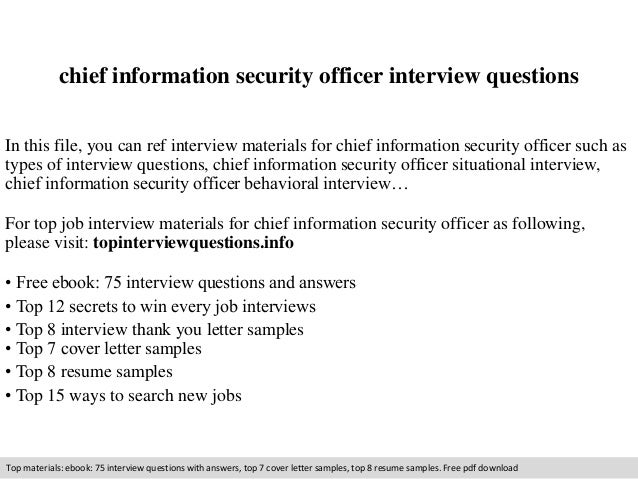 Chief information security officer interview questions