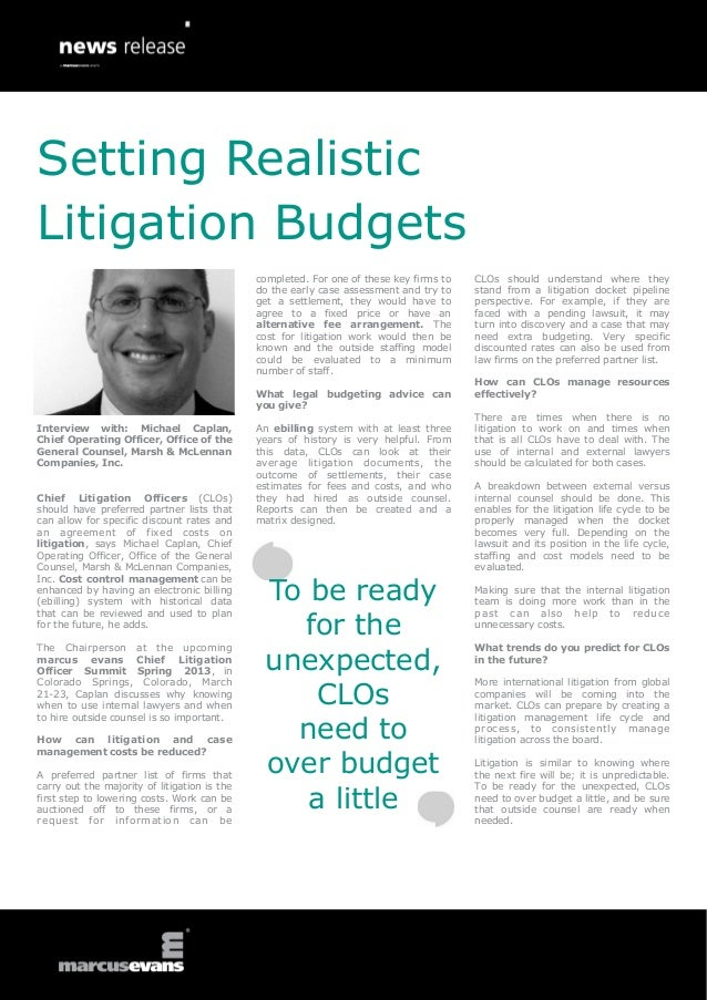 Setting RealisticLitigation Budgets                                              completed. For one of these key firms to ...