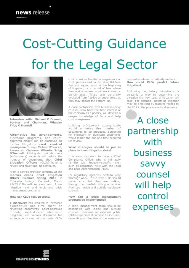 Cost-Cutting Guidance                 for the Legal Sector                                             could consider blen...