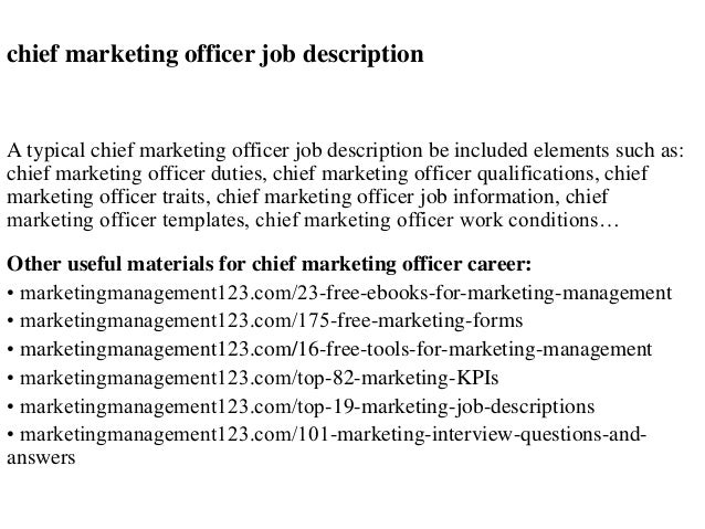 Chief Marketing Officer Job Description A Typical Chief Marketing Officer  Job Description Be Included Elements Such ...