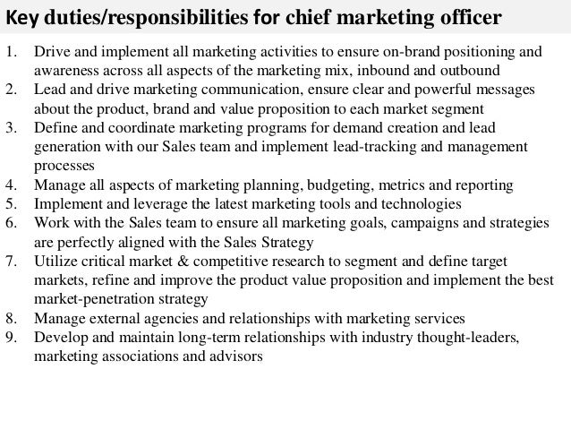 Great ... 2. Key Duties/responsibilities For Chief Marketing Officer ...