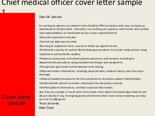 Cover Letter For Medical Officer