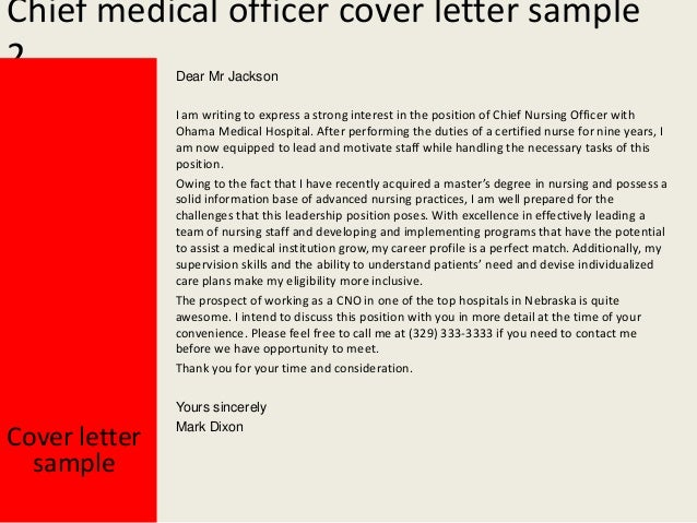 Chief medical officer cover letter – Chief Medical Officer Job Description