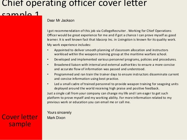 Chief operating officer cover letter - Chief operating officer qualifications ...