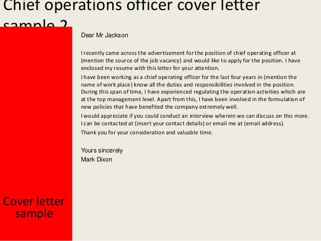 chief operations officer cover letter