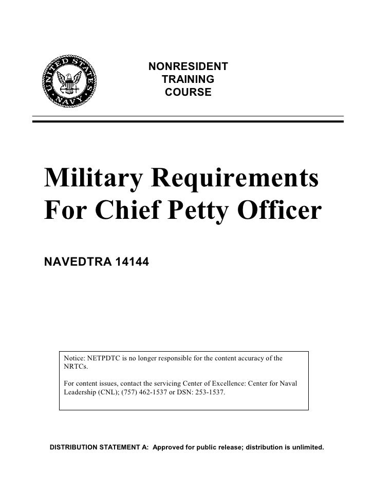 NONRESIDENT                                  TRAINING                                  COURSEMilitary RequirementsFor Chie...