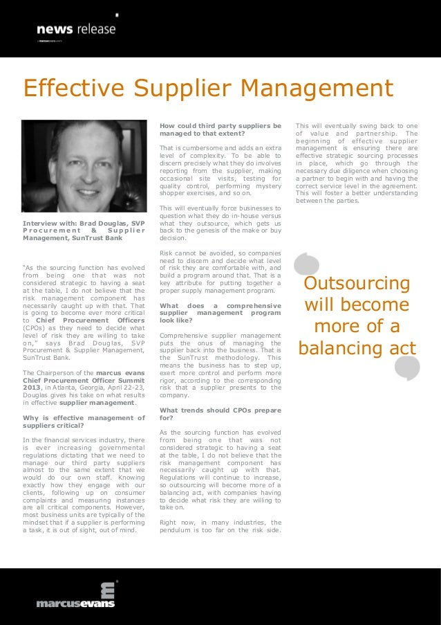 Effective Supplier Management                                            How could third party suppliers be         This w...