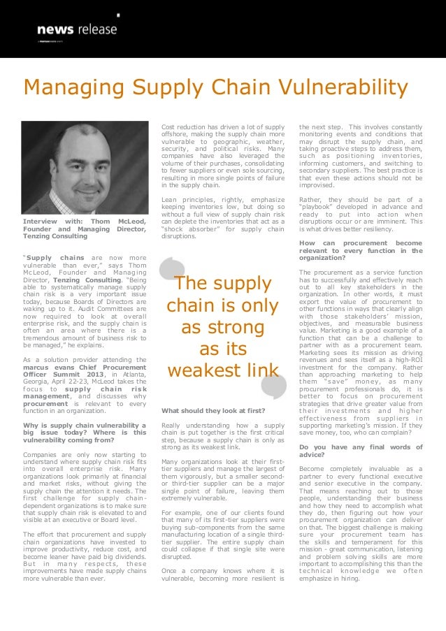 Managing Supply Chain Vulnerability                                            Cost reduction has driven a lot of supply  ...
