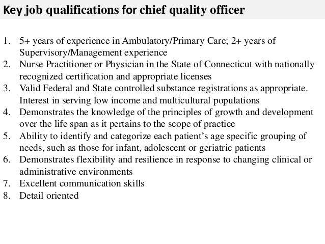 chief quality officer job description resume