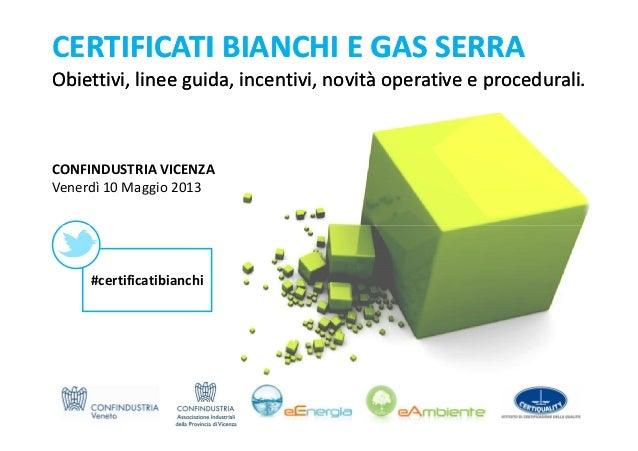 CERTIFICATI BIANCHI E GAS SERRAERTIFICATI BIANCHI E GAS SERRAObiettivi, linee guida, incentivi, novità operative e procedu...