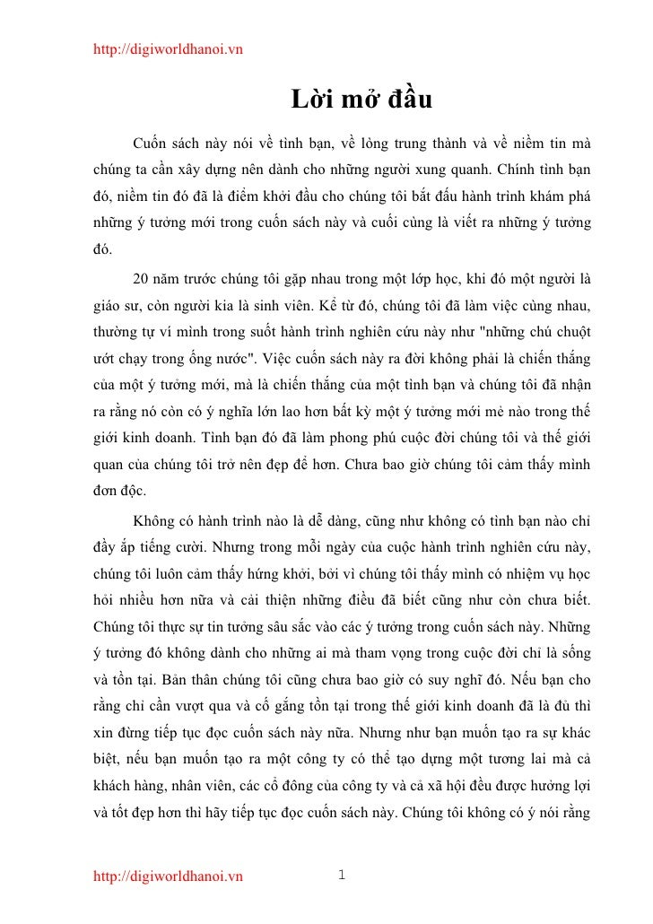 http://digiworldhanoi.vn                                  Lời mở đầu       Cuốn sách này nói về tình bạn, về lòng trung th...