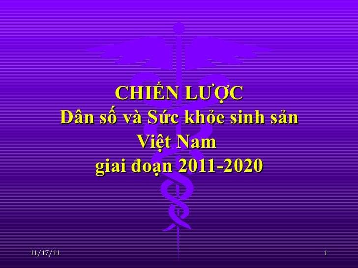CHIẾN LƯỢC Dân số và Sức khỏe sinh sản Việt Nam  giai đoạn 2011-2020