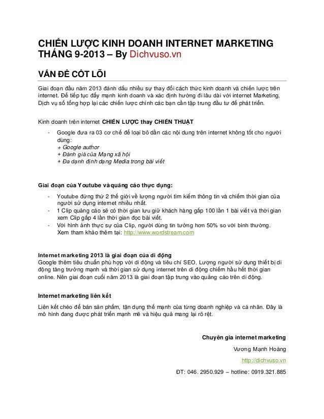 CHIẾN LƯỢC KINH DOANH INTERNET MARKETING THÁNG 9-2013 – By Dichvuso.vn VẤN ĐỀ CỐT LÕI Giai đoạn đầu năm 2013 đánh dấu nhiề...