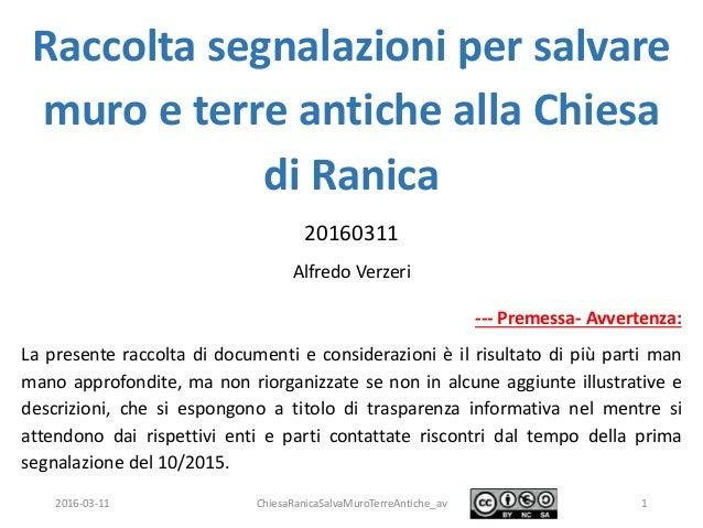 2016-03-11 ChiesaRanicaSalvaMuroTerreAntiche_av 1 Raccolta segnalazioni per salvare muro e terre antiche alla Chiesa di Ra...