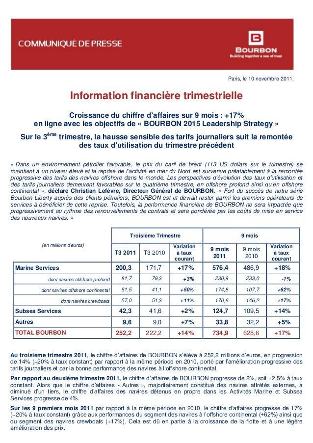 Paris, le 10 novembre 2011, Information financière trimestrielle Croissance du chiffre d'affaires sur 9 mois : +17% en lig...