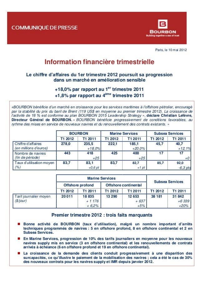 Paris, le 10 mai 2012 Information financière trimestrielle Le chiffre d'affaires du 1er trimestre 2012 poursuit sa progres...