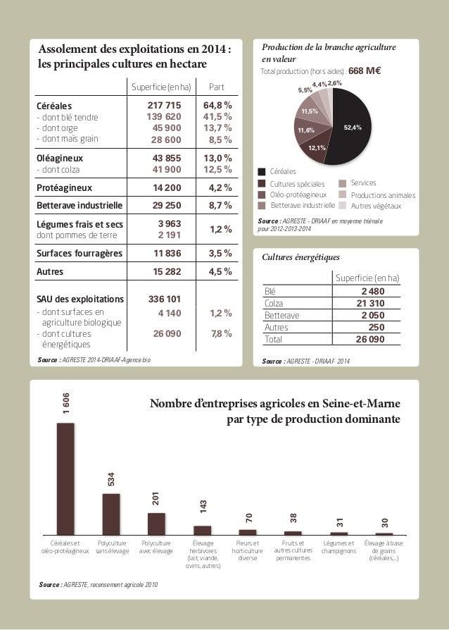 Assolement des exploitations en 2014 : les principales cultures en hectare Production de la branche agriculture en valeur ...