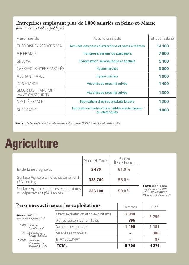 Agriculture Source : CCI Seine-et-Marne, Base de Données Entreprises, octobre 2010 Entreprises employant plus de 1000 sal...