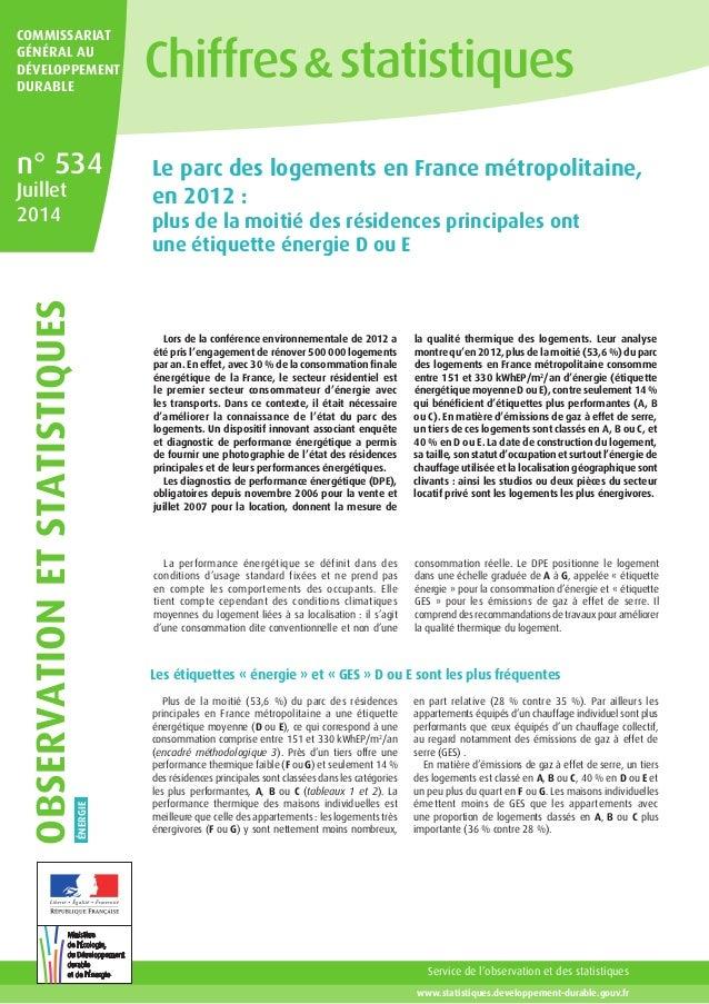 Service de l'observation et des statistiques www.statistiques.developpement-durable.gouv.fr COMMISSARIAT Général au dévelo...