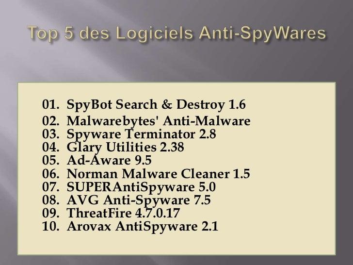 01.   SpyBot Search & Destroy 1.602.   Malwarebytes Anti-Malware03.   Spyware Terminator 2.804.   Glary Utilities 2.3805. ...