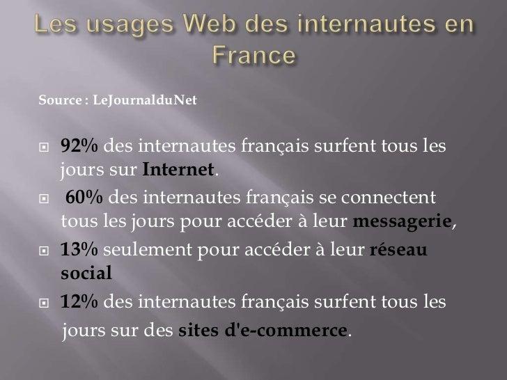 Source : LeJournalduNet   92% des internautes français surfent tous les    jours sur Internet.    60% des internautes fr...