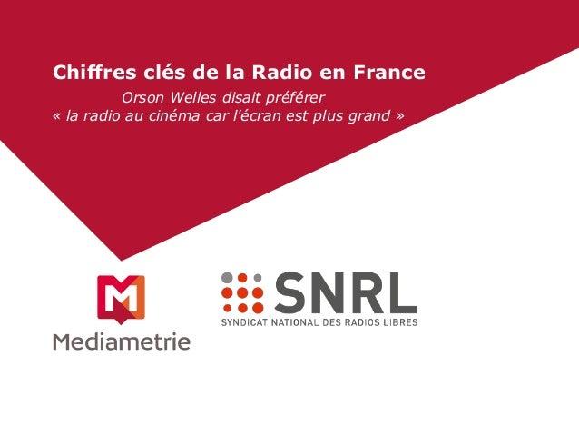 Chiffres clés de la Radio en France  Orson Welles disait préférer  « la radio au cinéma car l'écran est plus grand »