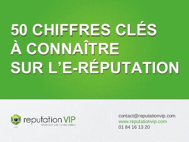 contact@reputationvip.com www.reputationvip.com 01 84 16 13 20 50 CHIFFRES CLÉS À CONNAÎTRE SUR L'E-RÉPUTATION 50 CHIFFRES...
