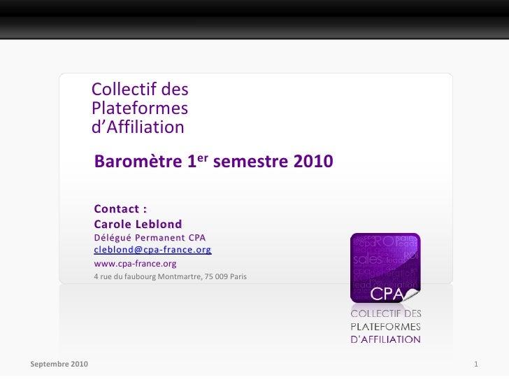 Présentation Presse                     Collectif des                  Plateformes                  d'Affiliation         ...