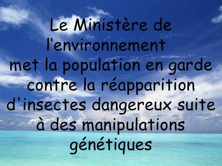 Le Ministère de l'environnement  met la population en garde contre la réapparition d'insectes dangereux suite à des manipu...