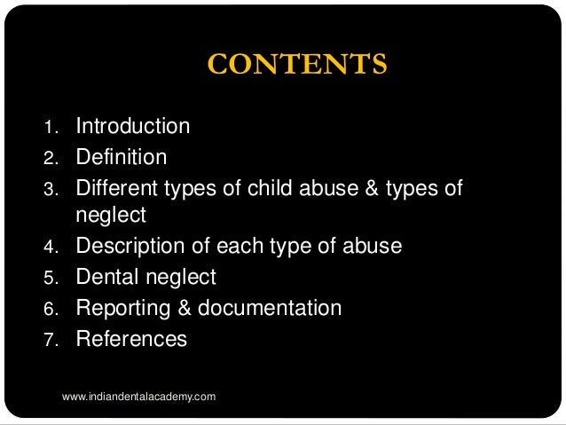 child abuse introduction Email: fahisham@gmailcom introduction child abuse has been documented in  different strata of the society it has become a national epidemic that requires.