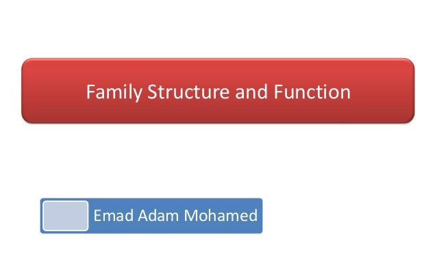 Family Structure and Function  Emad Adam Mohamed