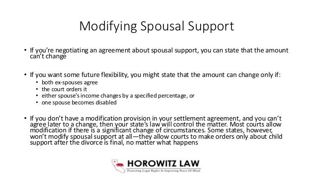 Child and spousal support settlement agreement 18 modifying spousal platinumwayz
