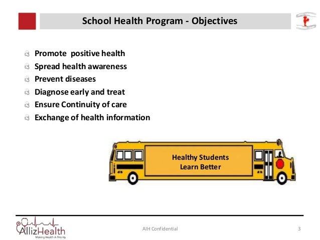 AIH Confidential 3 School Health Program - Objectives Promote positive health Spread health awareness Prevent diseases Dia...
