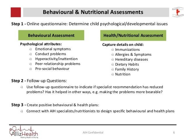 AIH Confidential 6 Behavioural & Nutritional Assessments Step 1 - Online questionnaire: Determine child psychological/deve...