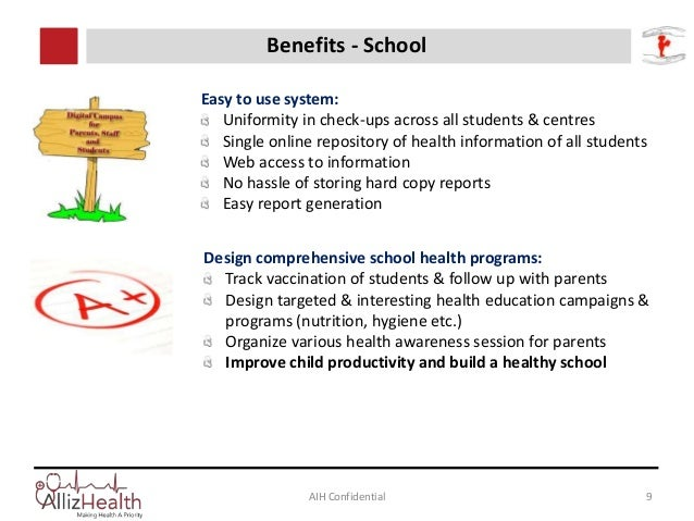 Click to edit Master title style AIH Confidential 9 Benefits - School Easy to use system: Uniformity in check-ups across a...