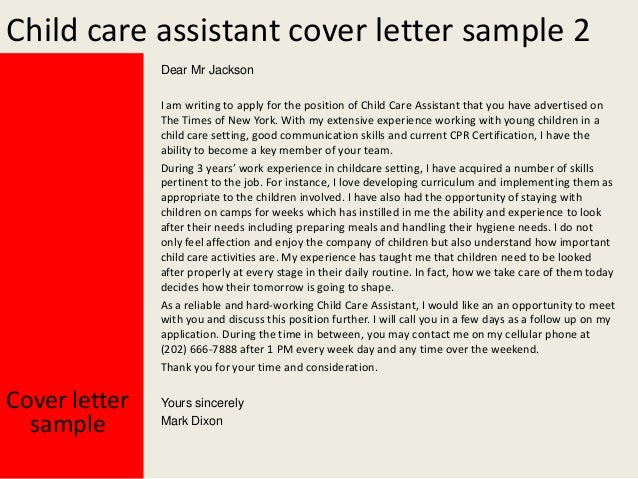 Child care assistant cover letter for Cover letter for daycare worker no experience