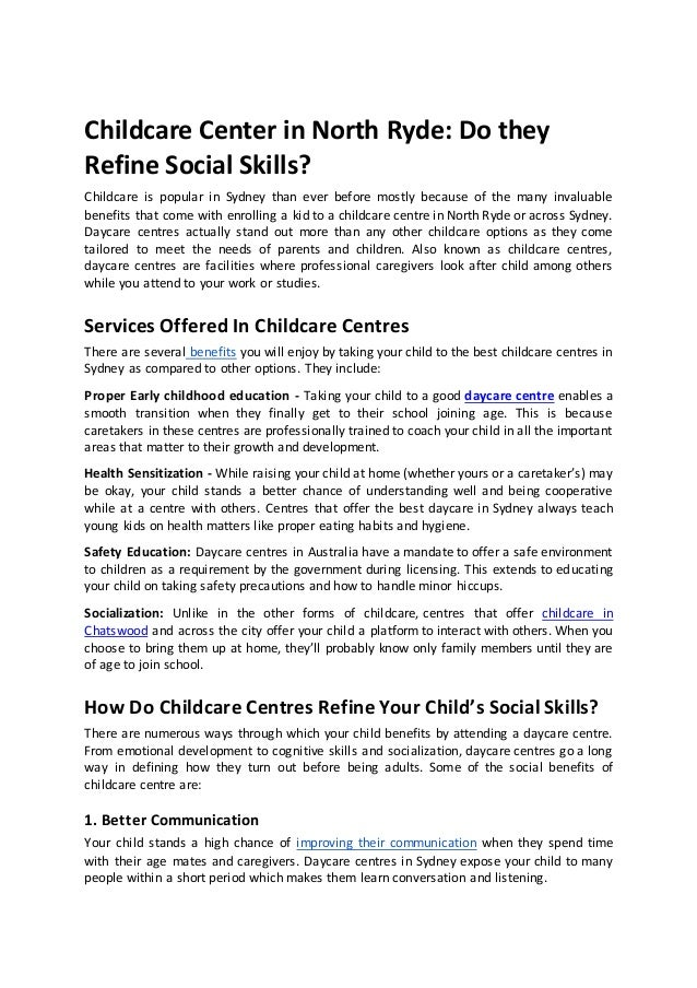 Childcare Center in North Ryde: Do they Refine Social Skills? Childcare is popular in Sydney than ever before mostly becau...